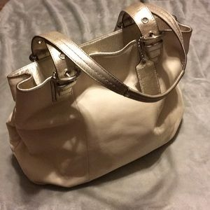 White and Gold Coach Purse